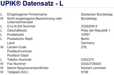 Firma Deutscher Bundestag