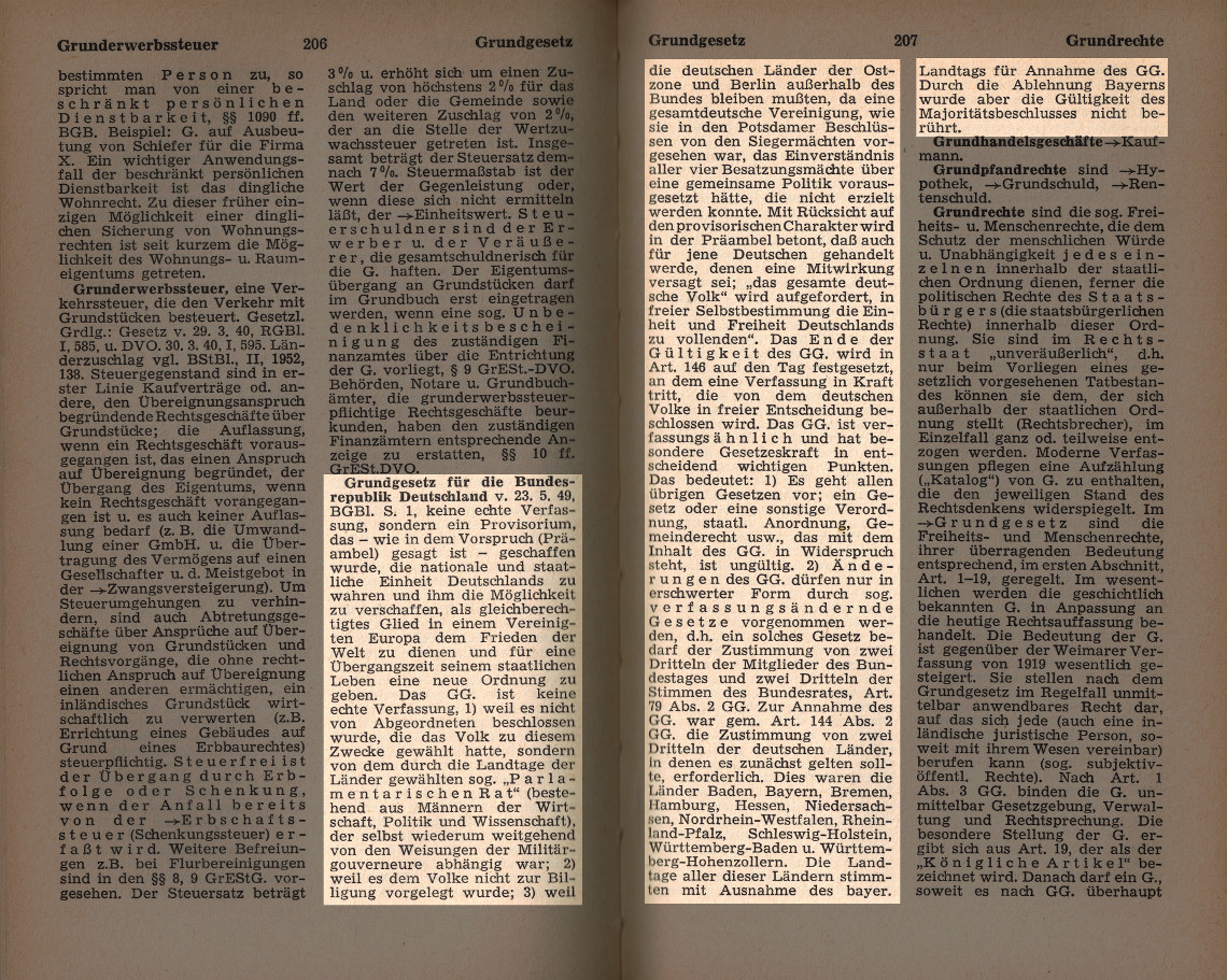 Grundgesetz ist ein verfassungsähnliches Provisorium (Curtius, Keysers Rechtslexikon, 1959)